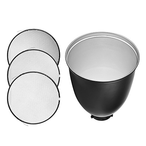 Andoer 45 Degree 11-Inch Bowens S-Type Mount Reflector Diffuser Shade Lamp Shade with 20° 40° 60° Honeycomb Grid for Bowens Mount Studio Strobe Flash Light Speedlite by Andoer