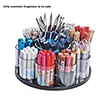 9 Cup Counter Cosmetic Rotating Organizer w/ Cottonball Dispenser 4'' D x 3.25''H