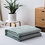 Enjoylife [2018 Collection] Plaid Printed Grid Checks Summer Quilt Bedding Yarn-Washed Cotton Comforter Grid-Green Bedspread Full/Queen(79''x90'') for Girls Boys