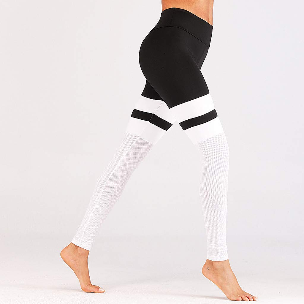 Pervobs Woman Skinny Fit Stretchy Yoga Sport Gym Elastic High Waist Gauze Ankle-length Pants Trousers(XL, White) by Pervobs Women Pants (Image #4)