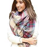 Lowpricenice Scarf Wrap Shawl Plaid Cozy Checked Women Lady Blanket Oversized Tartan