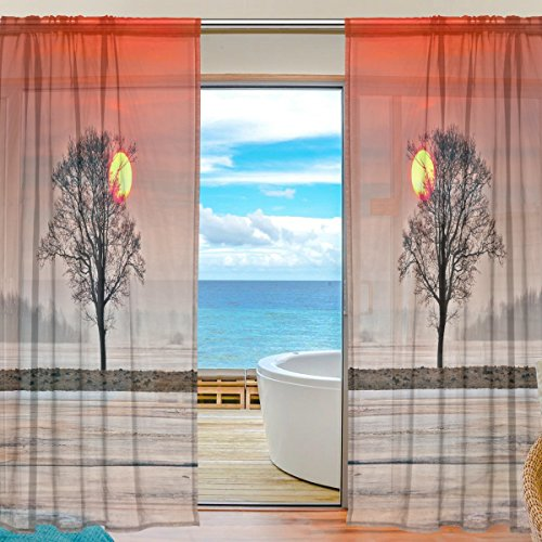 Landscape Oak Tree Sunet Sheer Curtain for Living Room Bedroom,55 x 84 Inches Long,Orange,Window Treatments,Rod Pocket,Polyester Fabric,Set of 2 Panels (Doors Oak Sliding Patio)