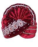 INMONARCH Mens Paisley Motif Velvet Turban pagari safa Groom hats TU1061 23-inch Maroon
