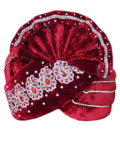INMONARCH Mens Paisley Motif Velvet Turban pagari safa Groom hats TU1061 23-inch Maroon by INMONARCH