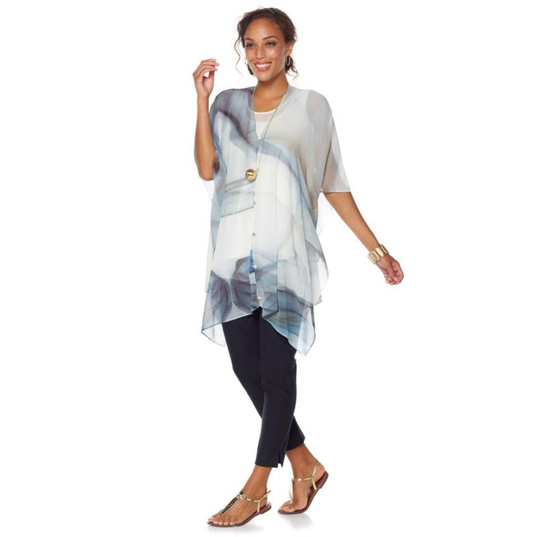 362d68820 MarlaWynne WynneLayers Convertible Woven Chiffon Overlay V-Neck Poncho  Black L New 542-763: Amazon.ca: Clothing & Accessories