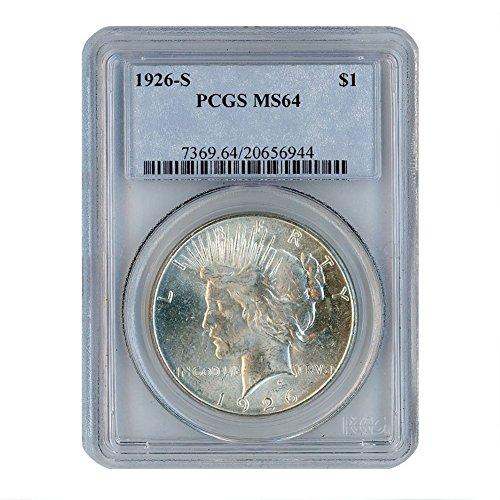 1926 S Peace Silver Dollar $1 MS64 PCGS