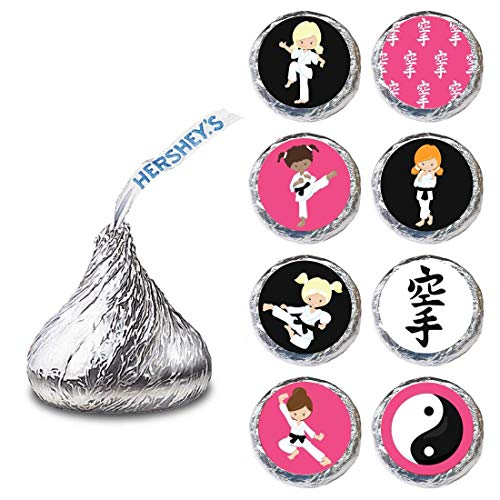 Karate Girl Label for HERSHEY'S KISSES® chocolates - Martial Candy Sticker Party Favor - Set of 240