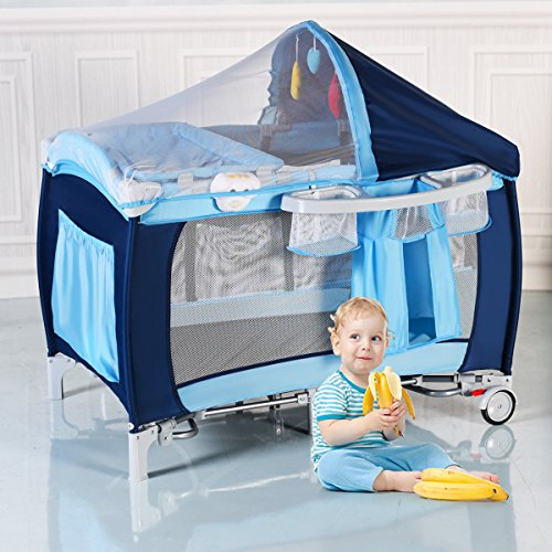 New Foldable Baby Crib Playpen Travel Infant Bassinet Bed Mosquito Net Music w Bag by COSTWAY (Image #9)
