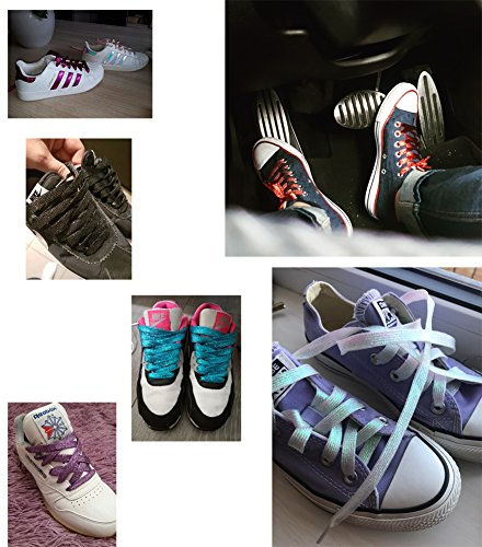 """16 Pairs Shimmery 42"""" Solid Colors Flat Shoelaces Shoe Laces for Teams Cheer Dance Sneakers - Image 4"""