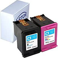 ESTON 2Pack 65XL Black & Tri-color Ink Cartridge Replacements for HP DeskJet 3720 DeskJet 3730 DeskJet 3755, Show Ink Level