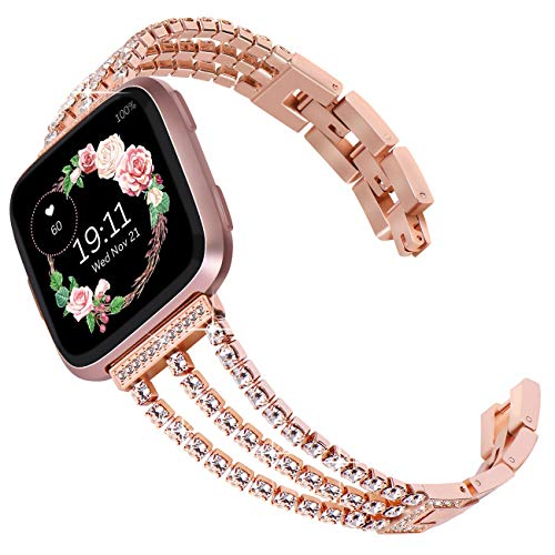 Surace Compatible with Fitbit Versa Bands Women Bracelet Metal Strap Wristband with Diamond Replacement for Fitbit Versa Band Smart Watch Rose Gold