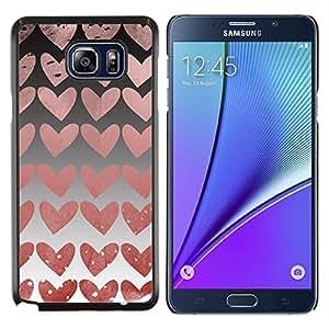 EJOOY---Cubierta de la caja de protección para la piel dura ** Samsung Galaxy Note 5 5th N9200 ** --Corazones Wallpaper Pink Love Relación