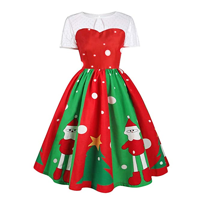 1be9b44a46752 Donna Vestiti di Natale Cuciture in Pizzo Abito Natale Vestito da Donna  Stampa Babbo Natale Midi Abito Elegante Vintage Abiti da Santa Natale Party  Festa ...