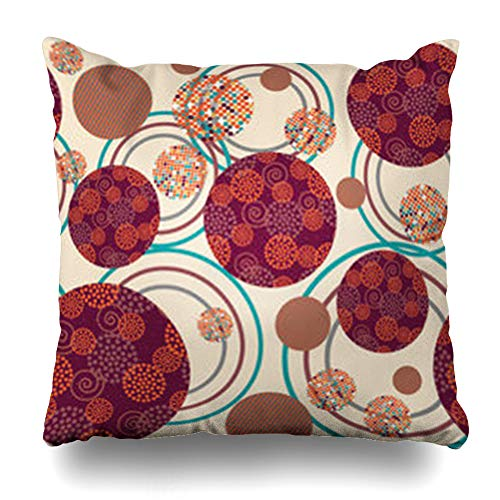 Ahawoso Throw Pillow Cover Geometric Circles Inside Circle Dots Modern Spirals Wavy Lines Abstract Swirls Home Decor Sofa Pillowcase Square Size 20 x 20 Inches Cushion Case