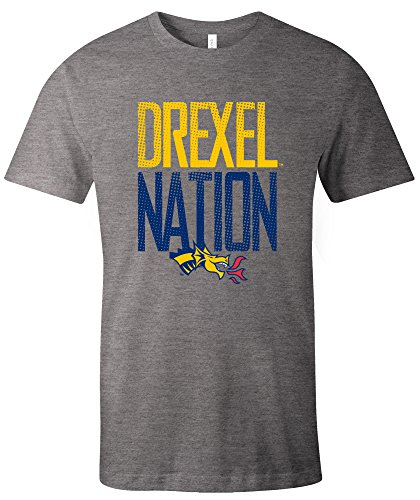 Ncaa Drexel Dragons Adult Unisex Ncaa Dotted Phrase Short Sleeve Triblend T Shirt Large Grey