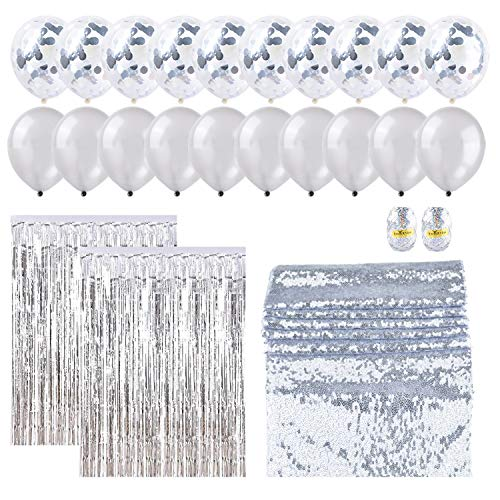 OUGOLD Party Decorations Set, Silver Party Supplies(25PCS) Confetti Balloons 12in 3.2ftX6.6ft Tinsel Foil Fringe Curtains for Wedding Birthday Decor Bridal or Baby Shower - Confetti Fringe