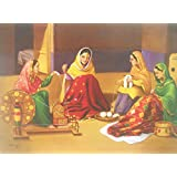 """Punjabi Women Spinning the Charkha Indian Poster/ Art of India : Reprint on Paper (Unframed : Size -14""""X 18"""" Inches)"""