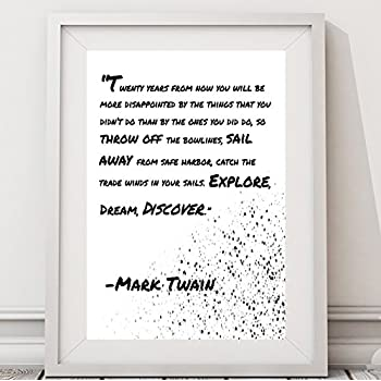 Amazon.com: Mark Twain Discover Quote Poster Art Print: Posters & Prints