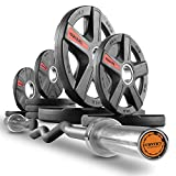 XMark Convict 6' Rackable Olympic EZ Curl Bar with Texas Star 95 lb. Olympic Plate Weight Set, Use with Any Squat Rack, Squat Stand, Olympic Bench, Bicep Curl and Triceps Bar Exercises