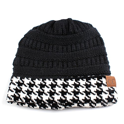 Hatsandscarf CC Exclusives Cable Knit Soft Stretch Houndstooth Ribbed Beanie Hat (HAT-12) (Black) - Exclusive Cap Hat