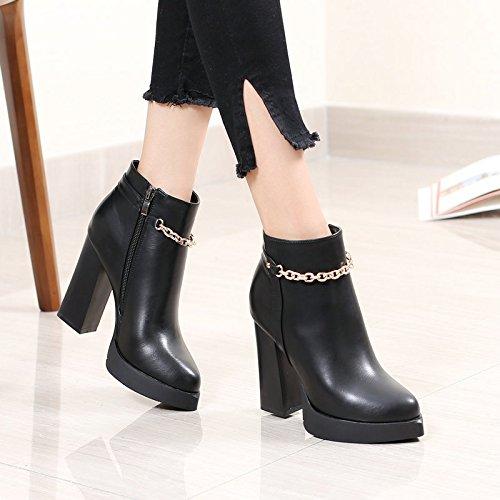 khskx-black Chunky Botas de corto de tacón Chunky talón botas de Martin Short Barrel estudiante de Corea botas botas, Thirty-five Thirty-five
