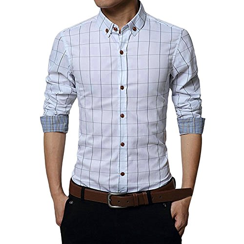 Shirt Blouse Top Slim-Fit Short-Sleeve Casual Shirt Slim Long Sleeve Shirt Plaid Casual Social Men's (L,White)