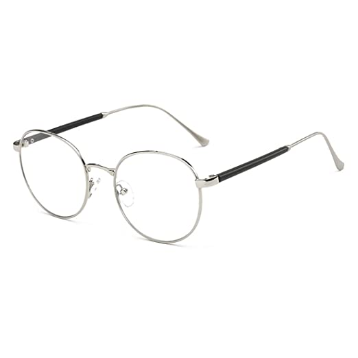a8c0c2c975 Amazon.com  D.King Oversized Round Circle Metal Eyeglasses Frame Vintage  Large Clear Lens Glasses Silver  Clothing