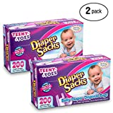 Teeny Toes Baby Disposable Diaper Sacks, 200 Count Pack Of 2 (400 Bags Total)