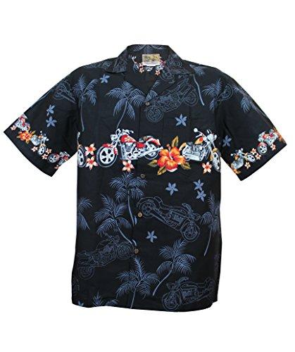 WinnieFashion Motorcycle Hawaiian Aloha Shirt; Made in Hawaii [Black 2XL] (Hawaiian Shirt Motorcycle)