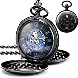 TREEWETO Engraved Mechanical Pocket Watches Skeleton Double Cover Father's Day Birthday Valentines Gifts Personalized Gift for Mens Man Husband with Box and Chain