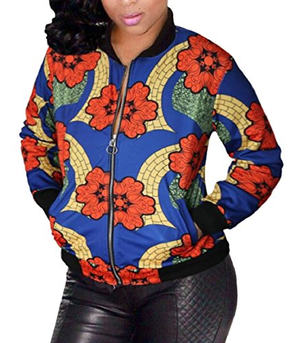 security Short Print Women's Coat Jacket Zipper Top 2 African Bomber 4IqIxnRrw