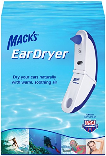 Mack's Ear Dryer - Soothing Electronic Warm Air Ear Dryer for Swimming, Showering, Water Sports, Surfing, Scuba and Hearing Aid Use