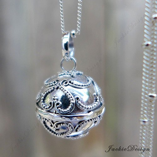 - 16mm Lace Hearts Chime Sound Harmony Ball Bali Sterling Silver Pendant Necklace 30