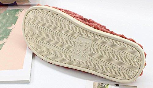 Interior Zapatos de y algodón Inicio Invierno Chanclas de DANDANJIE Mujer de Pajarita a Dark Pana Zapatillas Rayas Zapatos cálido caseros Zapatillas Suelo de green de wtPxa1