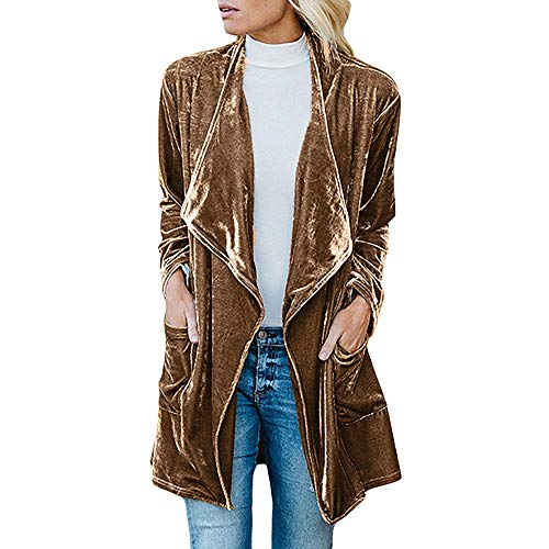 Orangeskycn Women Cardigan Drape Velvet Long Baggy Jacket Open Front Coat with ()