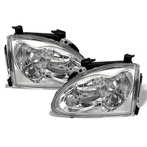 For Honda Civic Del Sol Coupe 2DR Chrome Clear Housing Headlights Lamp Assembly Driver and Passenger Side