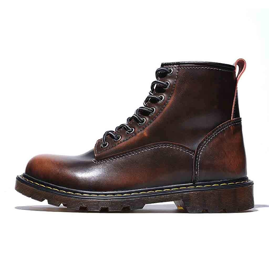 Hunzed Men【British High Shoes】Men Leather Boots Waterproof Winter Work Outdoor Boots (9.5 M US, Brown)