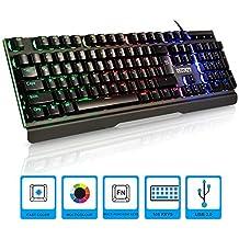 Gaming Keyboard with Rainbow Led Backlit,Semi Mechanical Gaming Keyboard USB Passthrough & Media Controls,19 Keys Anti-ghosting Waterproof with Wrist Rest for Video Games PC Windows, Mac RECCAZRI