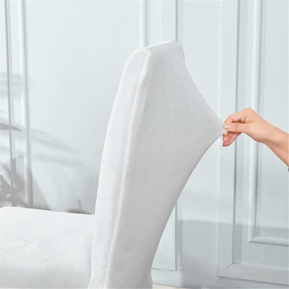 4 Piezas Cubierta De La Silla Elástica De Terciopelo, Cubiertas De La Silla De Elasticidad Del Comedor Protector Slipcovers Color Seleccionable,Blanco White