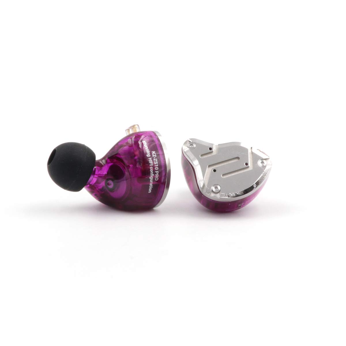 KZ ZS10 Pro 4BA+1DD Hybrid in-Ear Earphone with High Resolution 075mm 2pin Connector Detachable Cable (Without MIC, Purple)