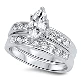 Marquise Cut Wedding Band Engagement Ring Set in 925 Sterling Silver (4)