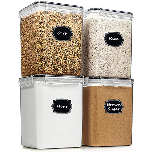 Large Food Storage Containers Cereal Container, Blingco Airtight Tall Dry Food Storage Containers Set of 4 (5.2L /175oz…