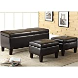 Coaster 3 Piece Storage Bench and Ottoman by Coaster