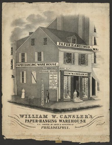 Photo: William W Cansler's paper-hanging warehouse,Arch,Seventh,Philadelphia,c1845