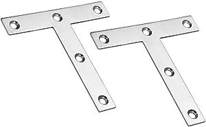"Autoly Stainless Steel Flat Plate T Shape Plate Corner Brace Repair Mending Brackets, Pack of 2 (120x120x2mm/4.72''x4.72''x0.08"")"