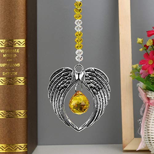 Hot Sale!DEESEE(TM)1PC Bohemian Wing Clear Crystal Ball Prisms Pendant Hanging Wedding Decor Gift (D)