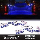 Xprite 24 LED Truck Bed Rail Light Side Marker LED Lighting Kit with Switch (8pcs) (Blue)