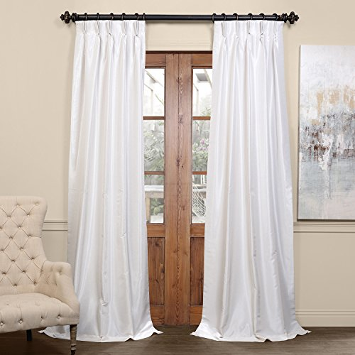Half Price Drapes PDCH-KBS2BO-96-FP Pleated Blackout Vintage Textured Faux Dupioni Silk Curtain, 25 x 96, Off White (Curtains Dupioni)