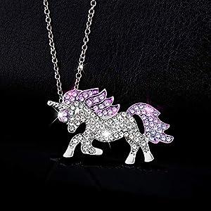 Gleamart Unicorn Necklace Rainbow Rhinestone Crystal Necklace for Women