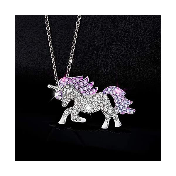 Gleamart Unicorn Necklace Rainbow Rhinestone Crystal Necklace for Women 4